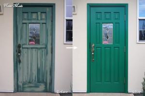 木製玄関ドアの塗り替え