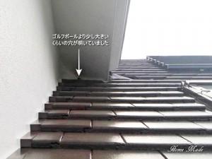 大屋根の穴(補修前)