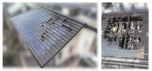 火災で燃えた太陽光パネルと屋根