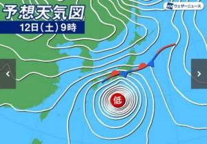 台風19号12日天気図